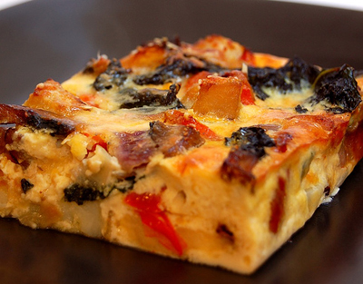 Frittata with mixed fresh vegetables, chicken/apple sausage ...